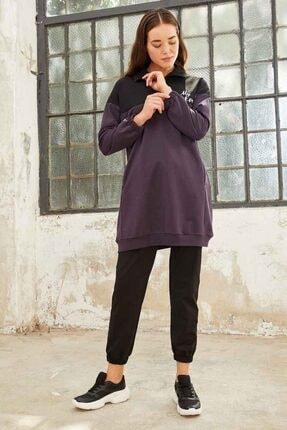 Tommy Life Kadın Mor Siyah Dik Yaka Yarım Fermuar Eşofman Takım