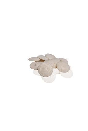 Anka Polyester Tırtıklı Büyük Krem Düğme 30mm 10 Adet