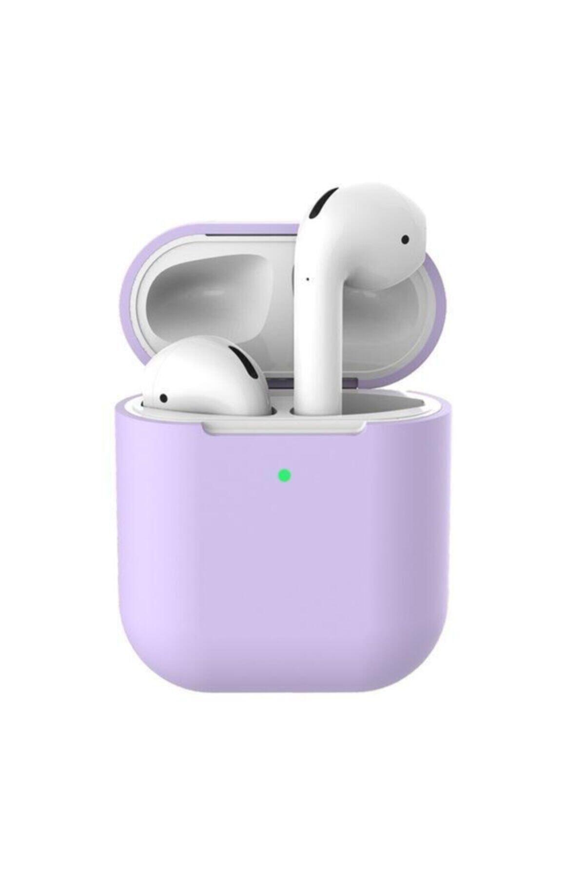 Telehome Lila Airpods 2. Nesil Pastel Renkli Silikon Koruma Kopçalı Airpods Kılıf 1