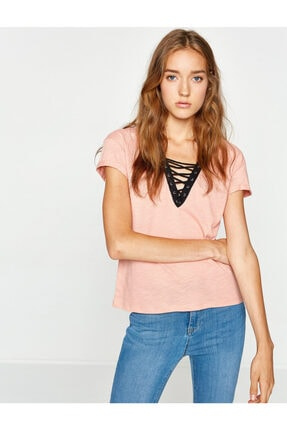 Koton Kadın Pembe T-Shirt 8KAK13335OK