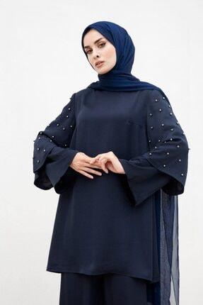 Tuay Karaca Kadın Lacivert Kolları Inci Detaylı Takım