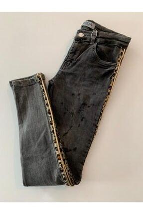 NK Kız Çocuk Gri Leopar Şerit Kot Pantolon
