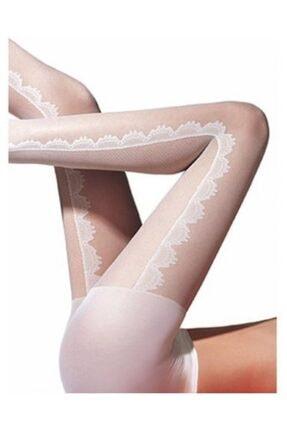 Penti Kadın Beyaz Desenli Külotlu Çorap