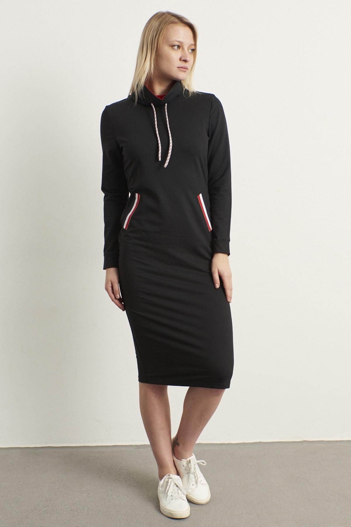 ELBİSENN Kadın Siyah Şerit Detay Spor Elbise 1