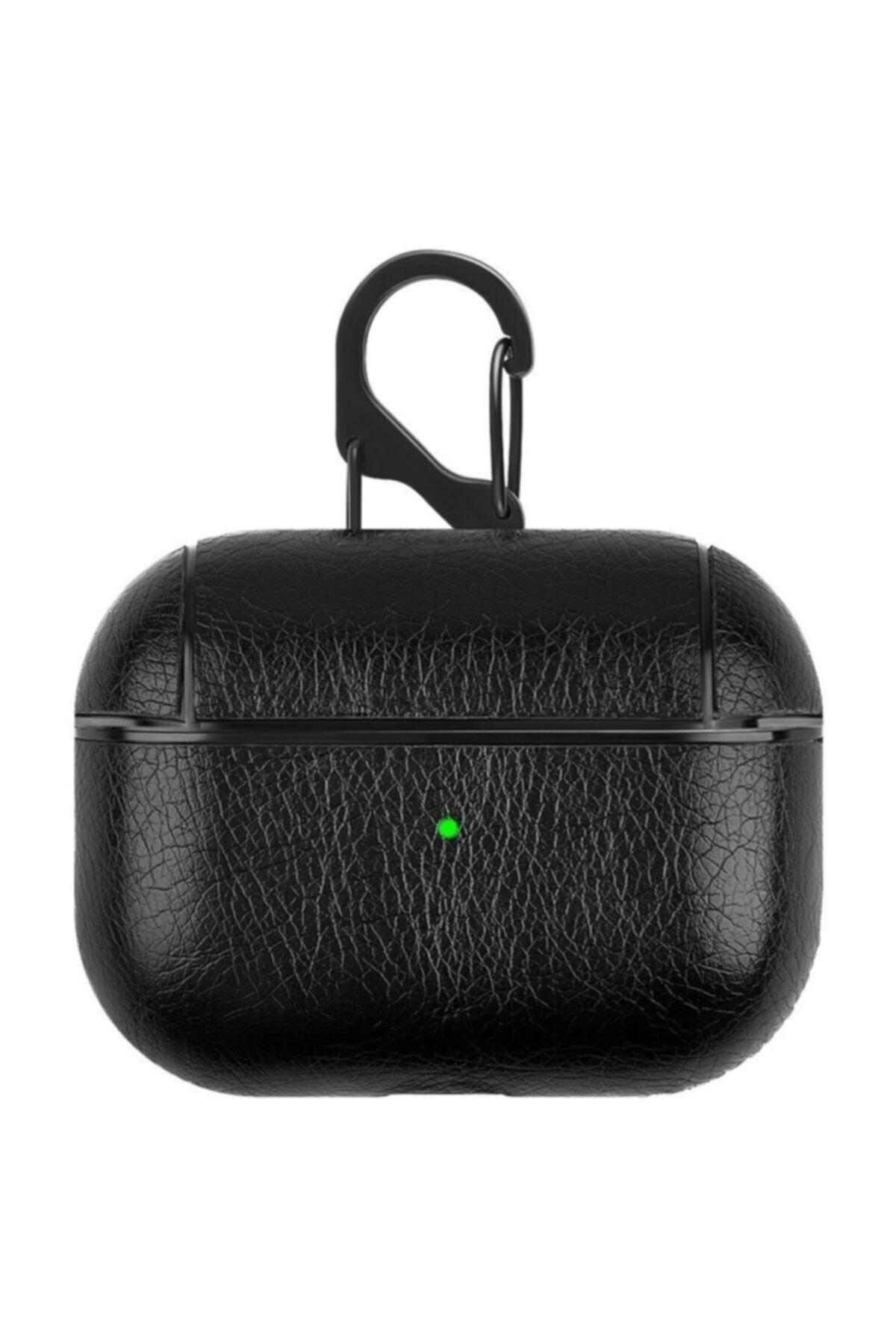 Telehome Siyah Apple Kulaklık Koruma Deri Airpods Pro Kılıf 1