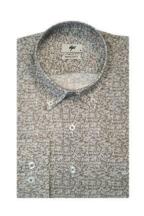 İgs Erkek Bej Regular Fit Düğmeli Yaka Gömlek