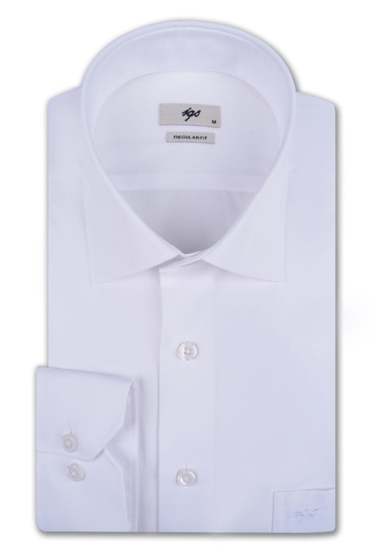 İgs Erkek Beyaz Regular Fit Gömlek 1