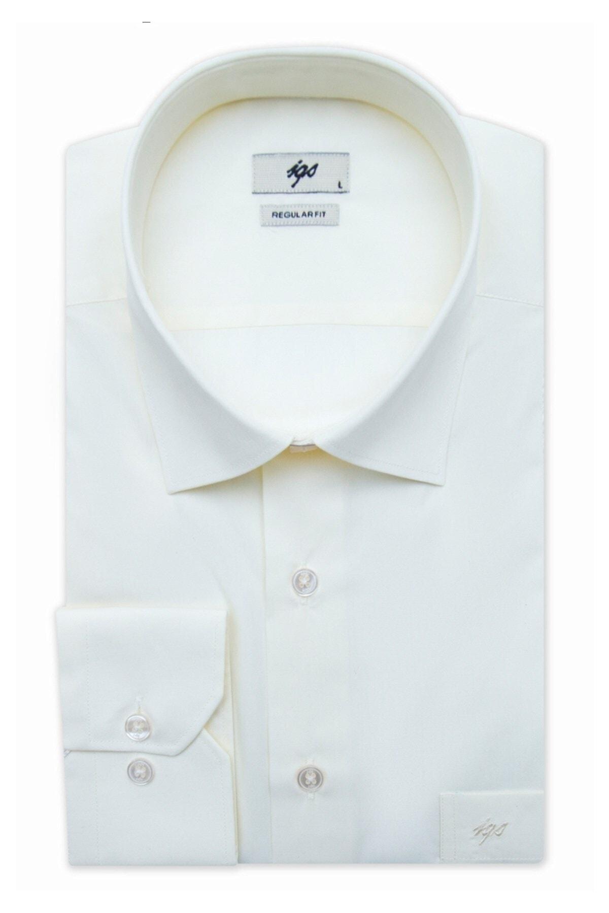 İgs Erkek Ekru Regular Fit Gömlek 1