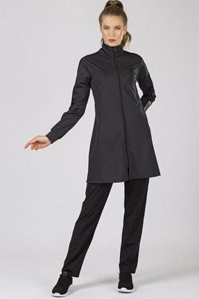 Tommy Life Kadın Antrasit-Siyah Kol Garnili Micro Dalgıç Eşofman Tunik Takım 95204