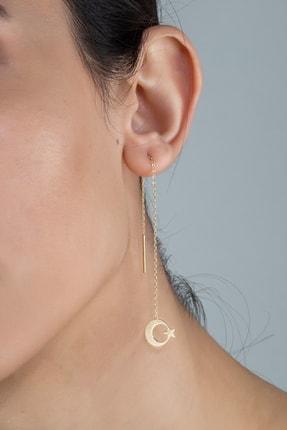 Else Silver Kadın Altın Ay Yıldız Sallantılı Gümüş Küpe