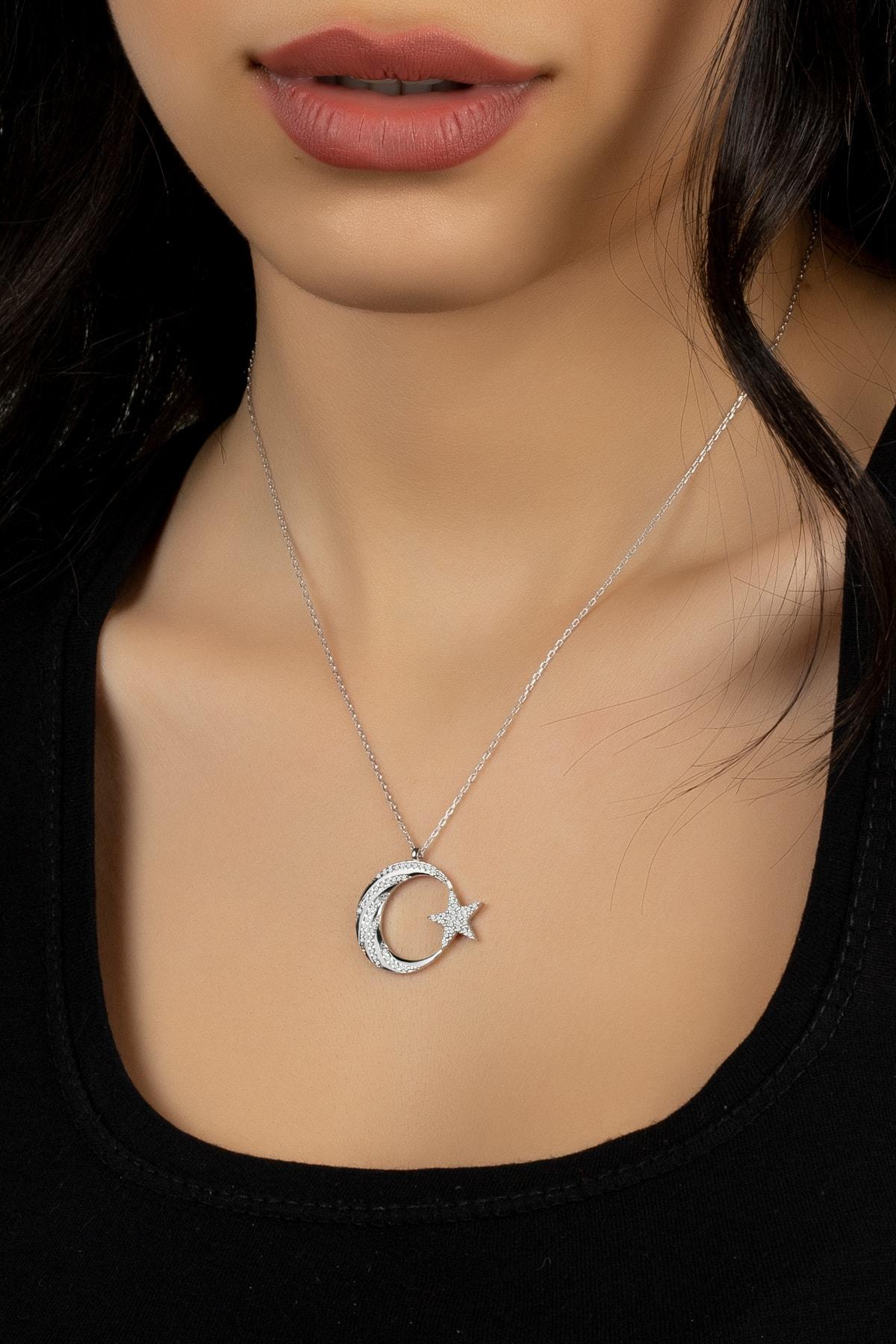 Else Silver Kadın Gümüş Elmas Montürü Kaz Ayağı Modeli Ay Yıldız Kolye 1
