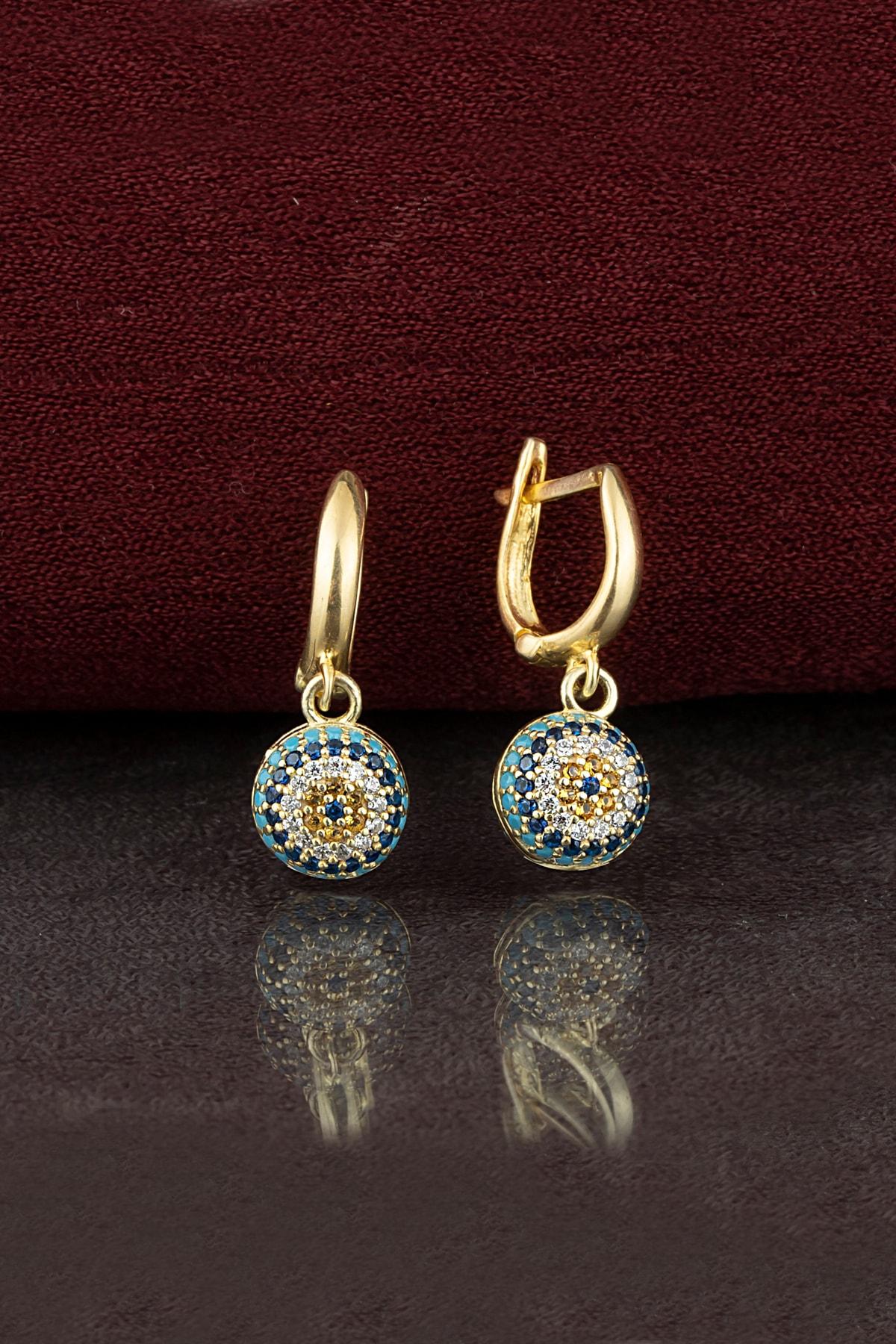 Else Silver Kadın Altın 925 Ayar Gümüş Nazar Küpe 1