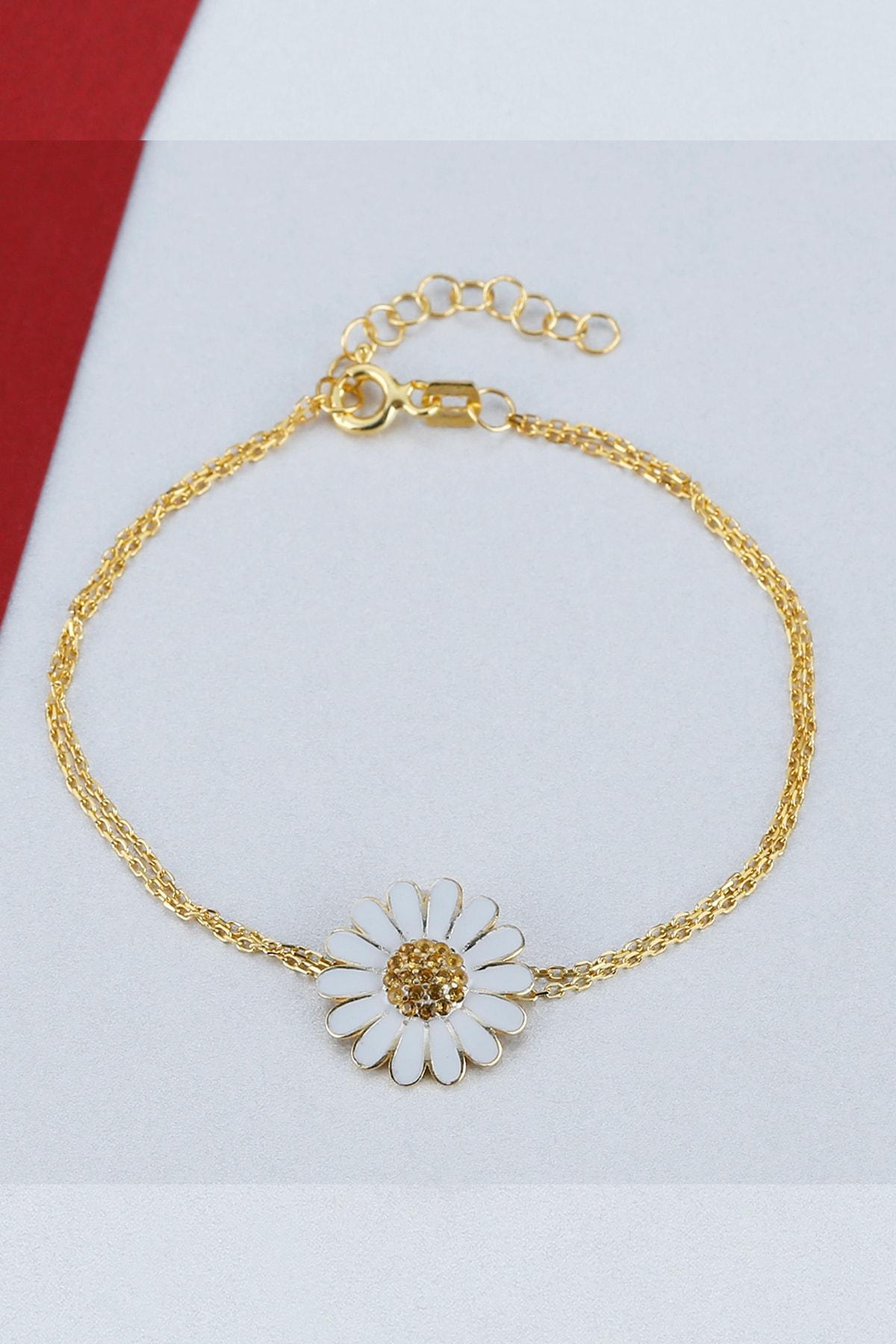 Else Silver Kadın Sarı Papatya Gümüş Bileklik 1
