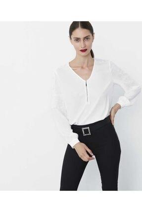 İpekyol Kadın Ekru Güpür Şeritli Bluz