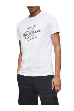 Calvin Klein Erkek Beyaz 3d Monogram Baskılı Dar Kesim T-shirt