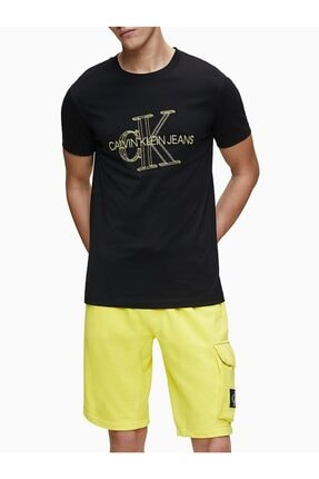 Calvin Klein Erkek Siyah 3d Monogram Baskılı Dar Kesim T-shirt
