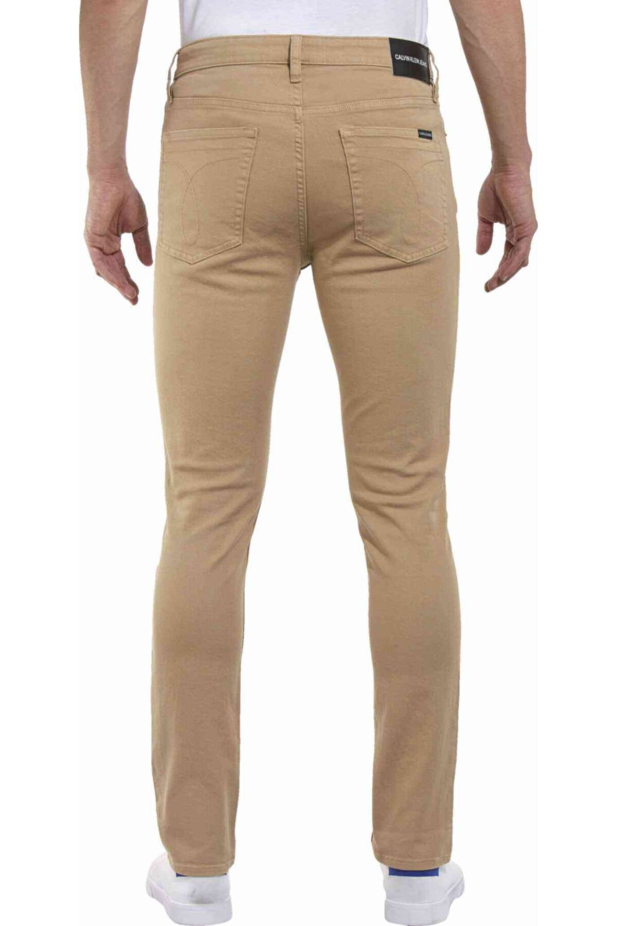 Calvin Klein Erkek Bej Pantolon Slım Stretch Twıll Pantolon 2