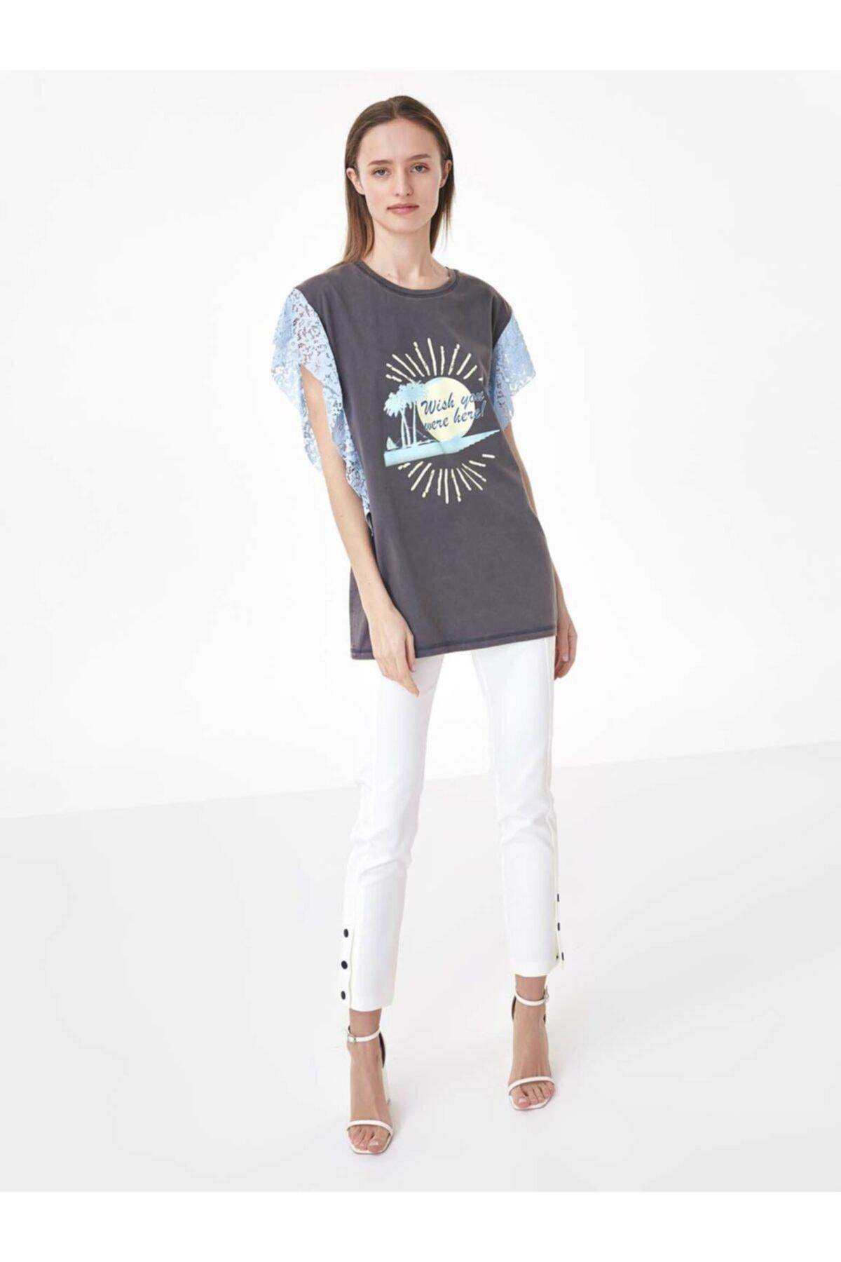 Twist Kadın Gri Dantel Mixli Tshirt TS1200070160126 2