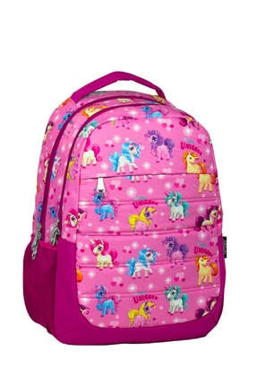 Cennec 727 Unicorn Desenli Kız Çocuk Okul Çantası - Üç Bölmeli /