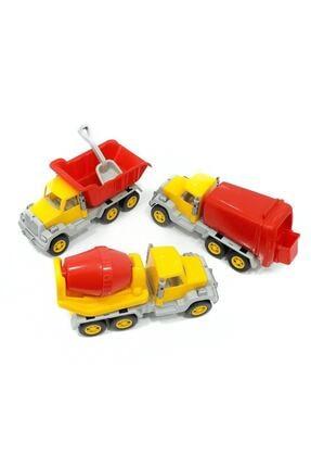Uçarkid 167 Oyuncak Büyük Beton Mikseri-kamyon-çöp Arabası 3 Lü Set 32x11 Cm