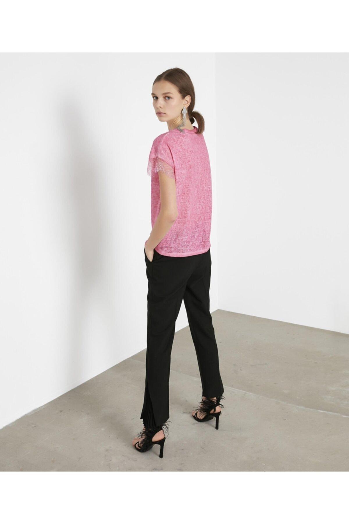 İpekyol Kadın Pembe Dantel Şeritli V Yaka Tshirt 2