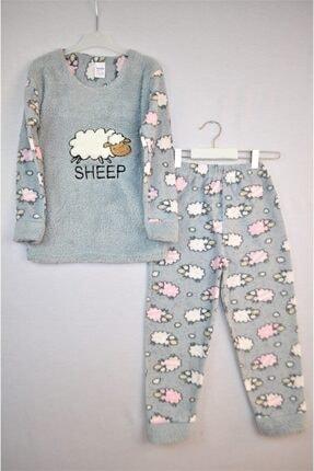 Yazıcı Giyim Kız Çocuk Polar Peluş Gri Kuzu Desenli Pijama Takımı