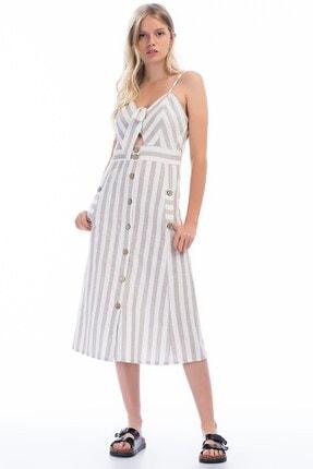 Cotton Mood 8301245 Keten Kalın Çizgili Göğsü Bağlama Detaylı Elbise Bej