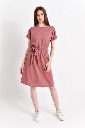 Cotton Mood Kadın Gül Kurusu İki İplik Beli Lastikli Yarasa Kol Elbise 9292931