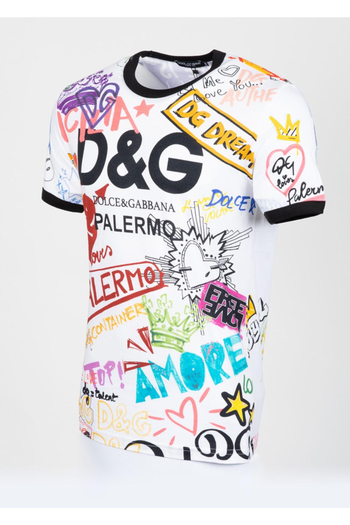 Dolce Gabbana Erkek Beyaz Desenli Tshirt 2