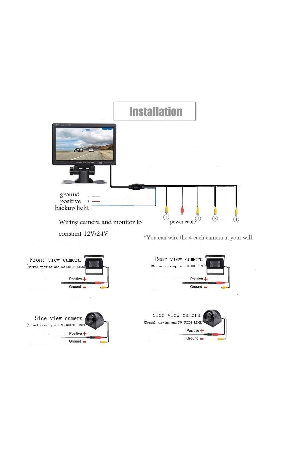 "AEM Servis Tip Lcd Ekran 4 Bölge Gösteren Kamera 7"" 2"