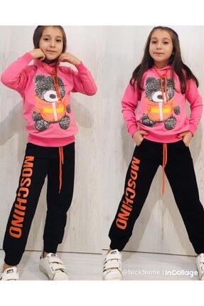Moschino Kız Çocuk Pembe Kapüşonlu Ayıcıklı Takım