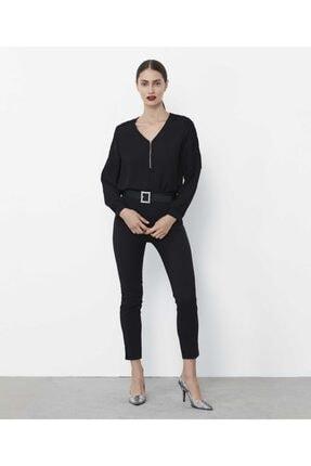 İpekyol Kadın Siyah Güpür Şeritli Bluz IW6190006181001