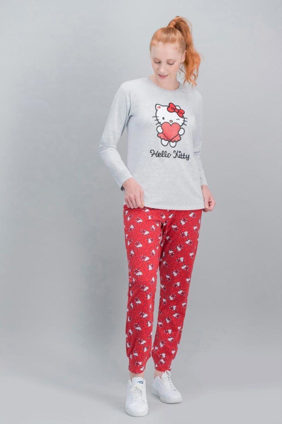 Hello Kitty Kadın Kırmızı Lisanslı Karmelanj Pijama Takım 2