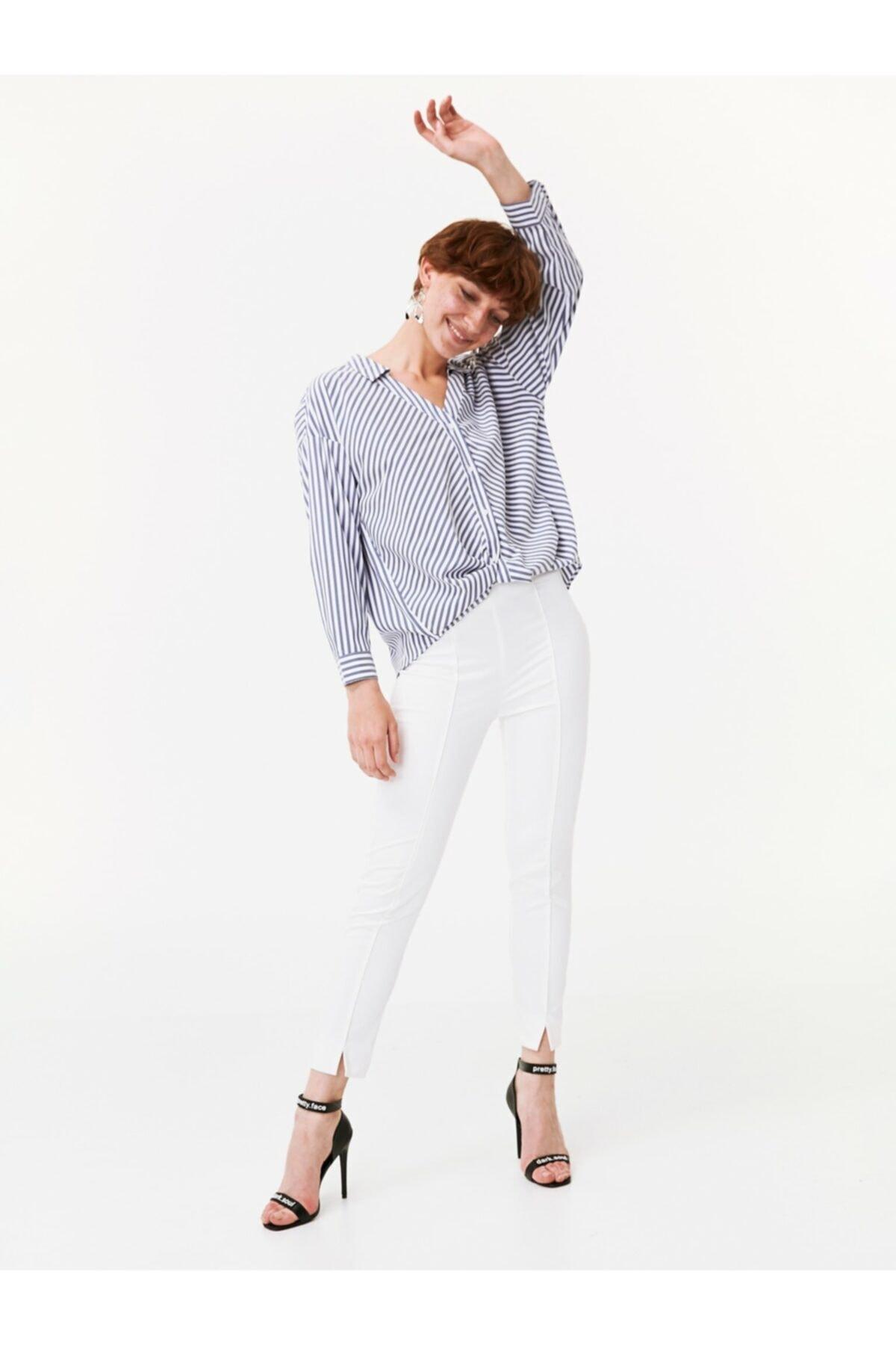 Twist Kadın Mavi Bel Detaylı Gömlek 2