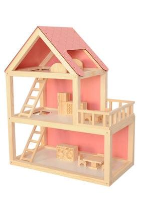 Okutan Hobi Ağaç Pembe Barbie Ev 68 Cm Demonte Ahşap Oyuncak Evi