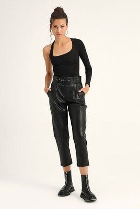 Quzu Kadın Pileli Deri Pantolon Siyah
