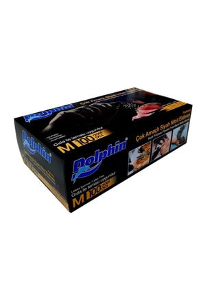 Dolphin Nitril Siyah Eldiven ( M ) Beden ( 100'lü Paket )