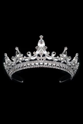 MyCrown 5,5cm Zarif Prenses Ve Gelin Tacı Gümüş Kaplama Kristal Taşlı