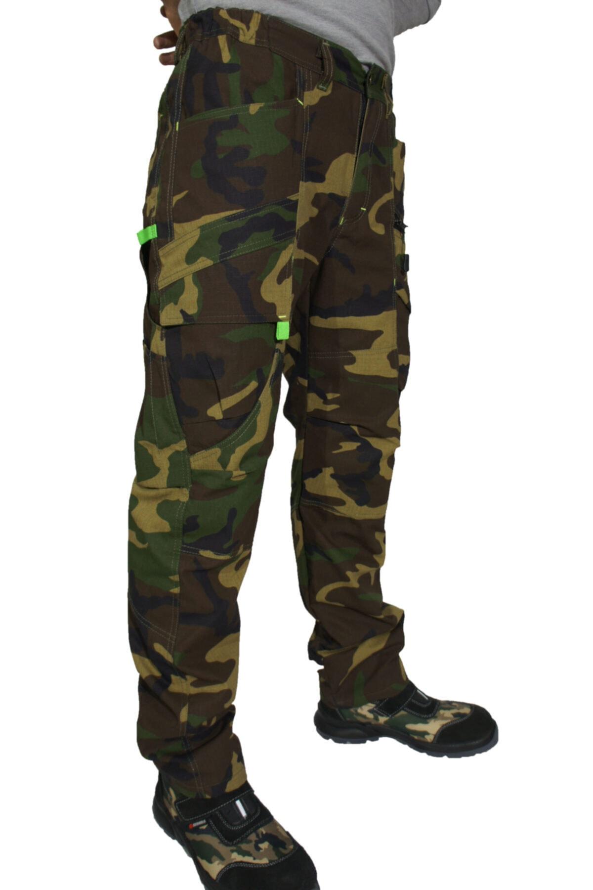 Uniprom Erkek Yeşil Kamuflaj 9 Cepli Havalandırma Fonksiyonlu Pantolon 2