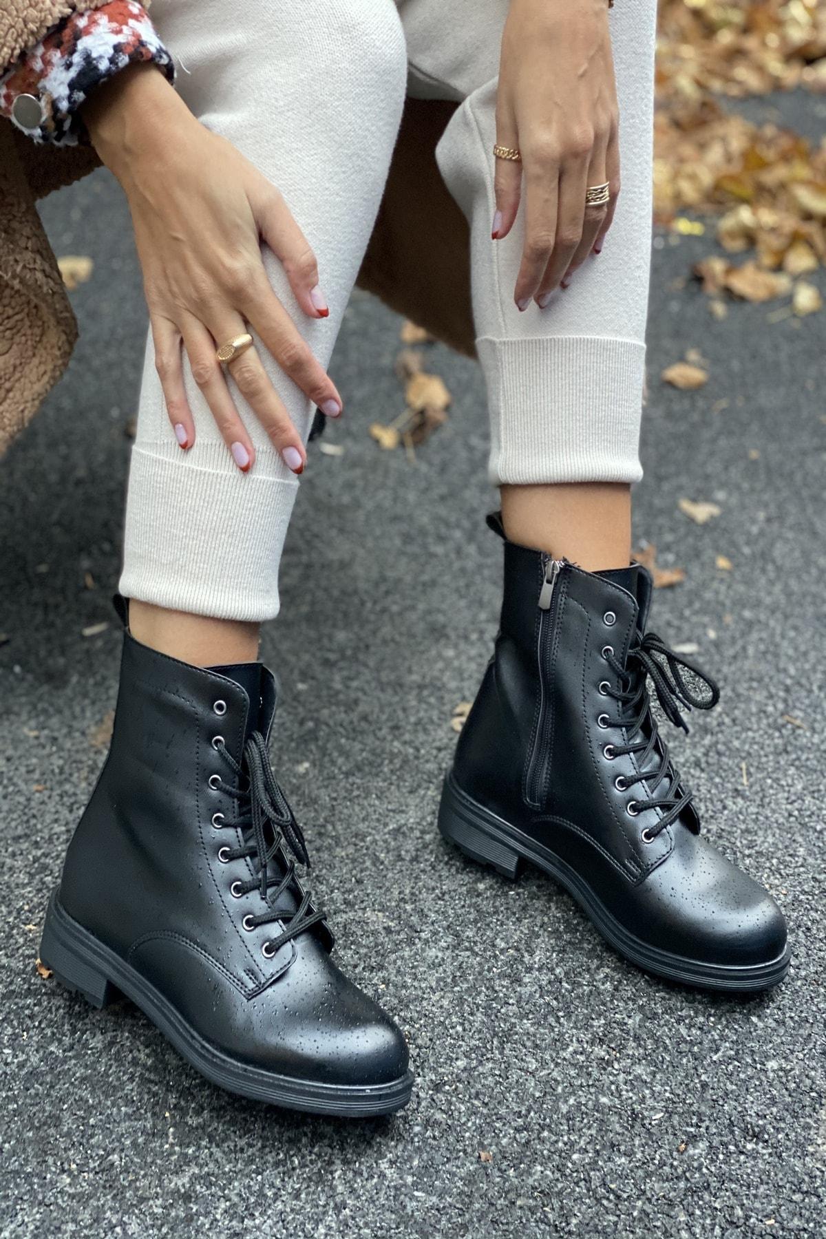 İnan Ayakkabı BAYAN SİYAH BOT&BOOTİE&POSTAL KY6095 1