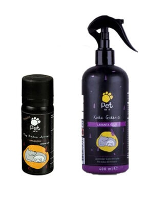 Pet Love Kedi Ve Köpek Koku Giderici Lavanta 400 ml ve Tüy Bakım Sprey Çikolata 50 ml
