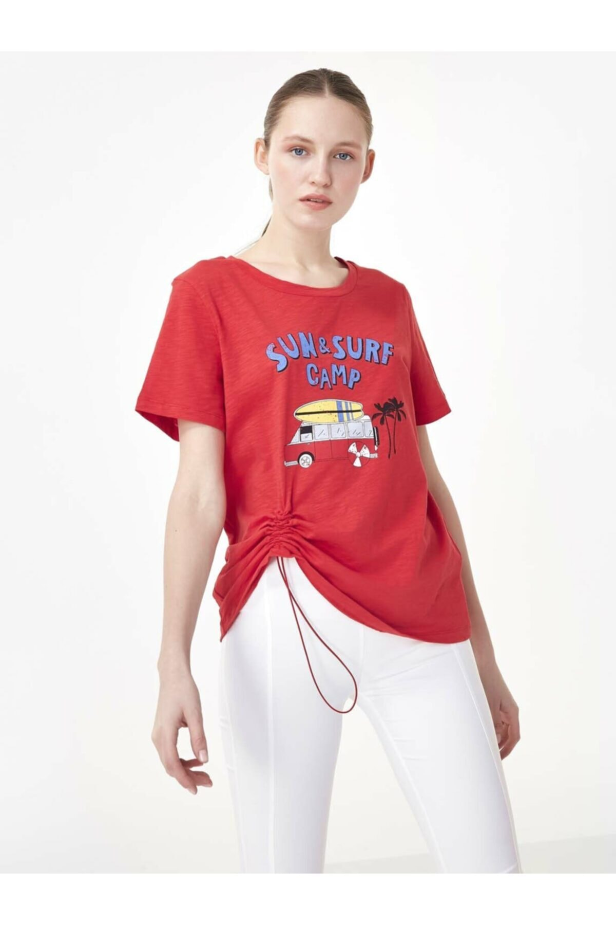 Twist Kadın Kırmızı Slogan Baskılı Tshirt TS1200070156034 2