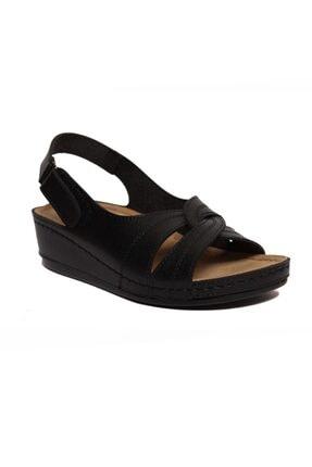 ROYJONES Kadın Siyah Anotomık/ortopedik Sandalet Terlik 1817