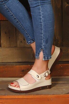 ROYJONES Kadın Bej Anotomık/ortopedik Sandalet Terlik 3014
