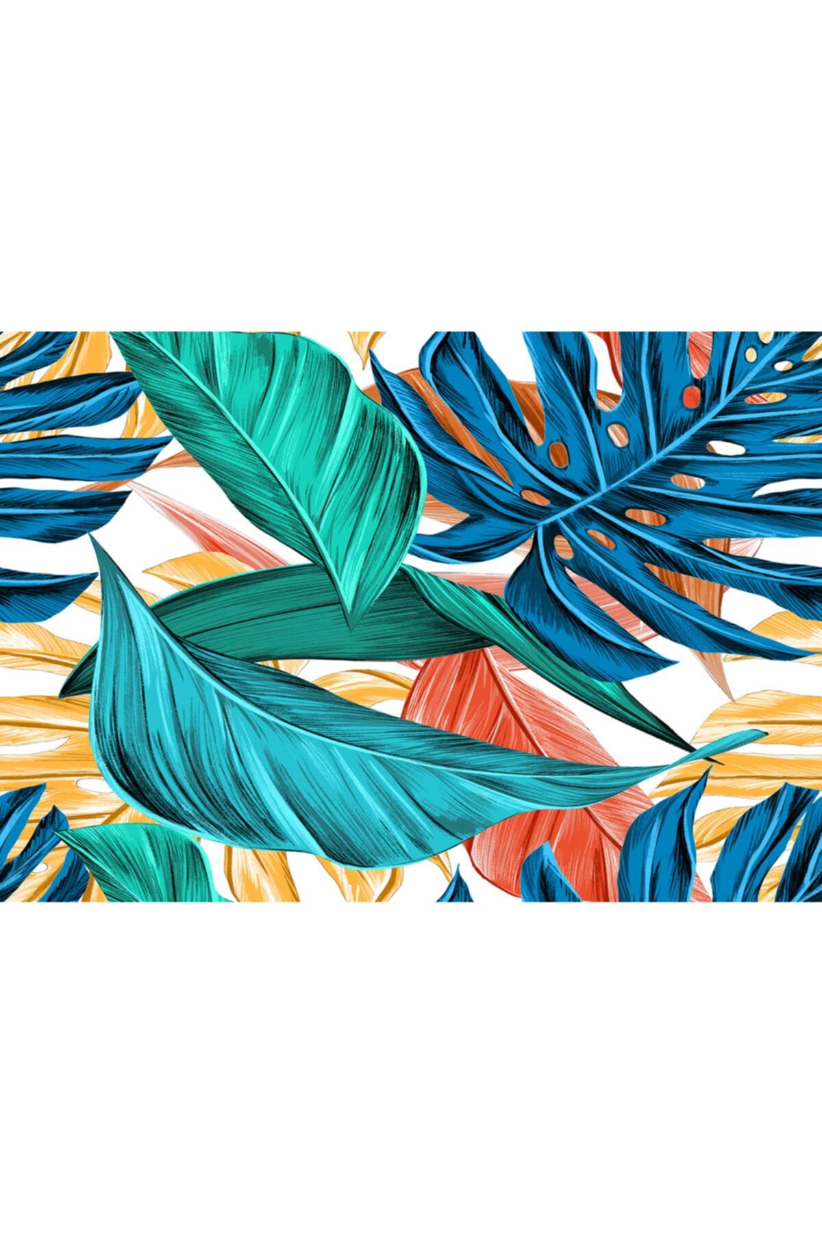 ELF Desıgn Tropik Yaprak Desenli Amerikan Servisi 4 Lü Set 1