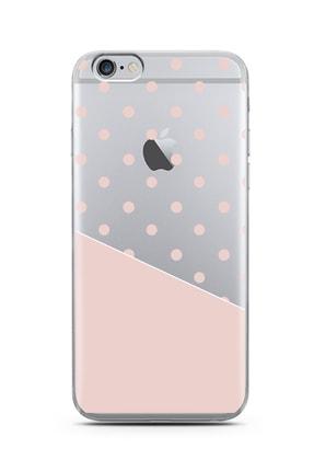 Spoyi Iphone 6s Plus Çapraz Pembe Tasarımlı Süper Şeffaf Silikon Telefon Kılıfı