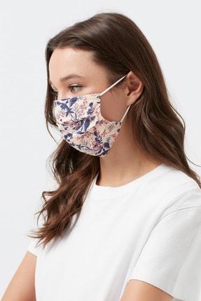 Mavi Çiçek Desenli Yıkanabilir Telli Yüz Maskesi