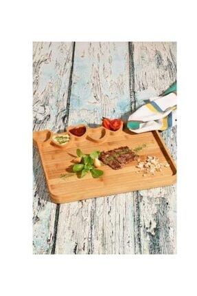 Decomarket Kayın Bölmeli Kalpli Kahvaltı Sunum Tabağı 22X35 cm