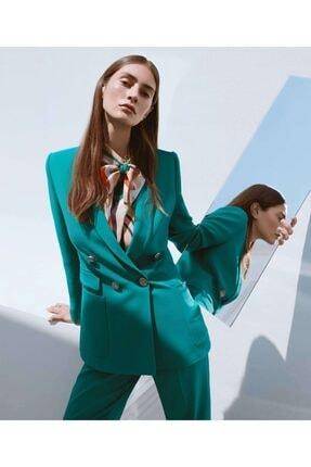 İpekyol Kadın Yeşil Düğme Aksesuarlı Ceket