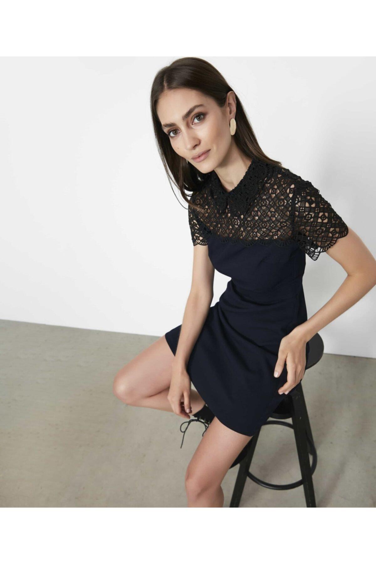 İpekyol Kadın Lacivert Güpür Mixli Elbise 1
